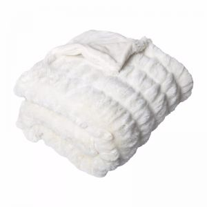 Quebec Ruched Faux Fur Throw | Ivory