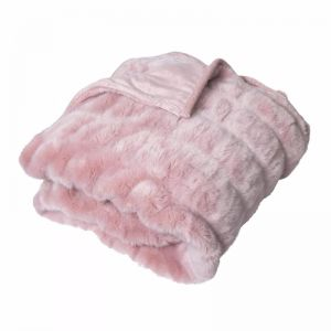 Quebec Ruched Faux Fur Throw   Rose Pink