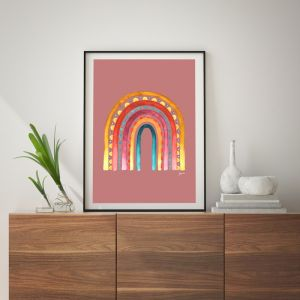 Rainbow Warrior in Sunset Blush Art Print by Pick a Pear | Unframed
