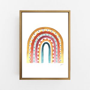 Rainbow Warrior in Sunset White Print by Pick a Pear | Canvas Wall Art