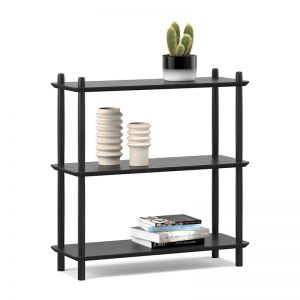 Rakk Low Bookshelf | Black Oak