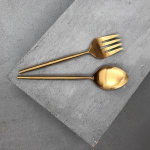 Ranya Salad Servers | Brass