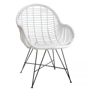 Rattan Arm Chair | by Raw Decor | White