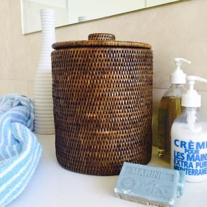 Rattan Bathroom Bin Liner in Brown by SATARA