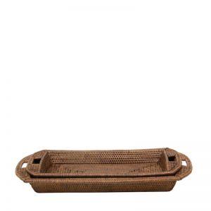 Rattan Rose Tray Set of 2 | Brown