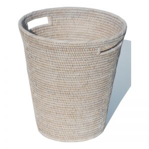 Rattan Waste Basket by Satara | Whitewash or Antique Brown
