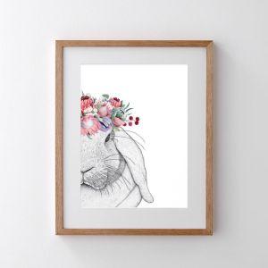 Rebekah the Rabbit with Protea Crown   Print