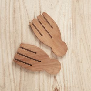 Recycled Sapodilla Wood Hand Salad Servers l Pre Order