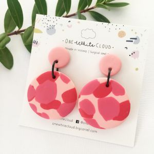 Red & Pink Earrings by One White Cloud