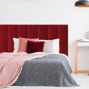 Red Red Wine Velvet Panelled Upholstered Bedhead | All Sizes | Custom Made by Martini Furniture