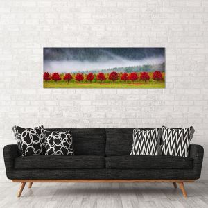 Red Row Of Trees | Canvas Print by Scott Leggo