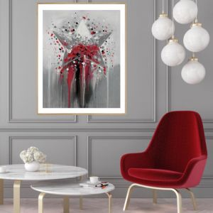 Red Star   P1021-2 RED   Framed Print   Colour Clash Studio