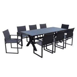 Redcliffe 9-Piece Aluminium Outdoor Dining Setting | Charcoal