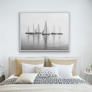 Regatta | Black & White | Hamptons Coastal Canvas Art Print
