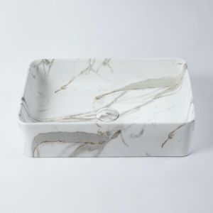 Regency Small Rectangle Basin | Grey & Gold Marble Look | by Eight Quarters