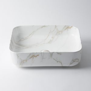 Regency Small Rectangle Classic Basin by Eight Quarters I Grey & Gold Marble Look