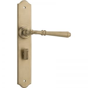Reims Door Lever Privacy Set, Satin Brass | Schots