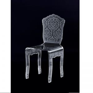 Renaissance Lucite Acrylic Carved Pattern Dining Chair