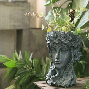 Resin Black Creative Goddess Head Statue Planter Bonsai Flower Succulent Pot Decor