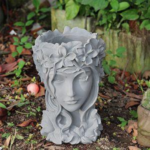 Resin Grey Creative Goddess Head Statue Planter Bonsai Flower Succulent Pot Decor
