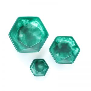 Resin HEXI bowls| NEST of 3 | Rachel Bainbridge | Emerald