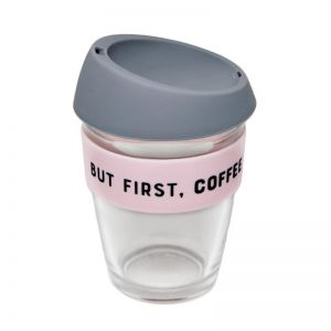 Reusable Glass Coffee Cup | But First, Coffee