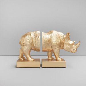 Rhino Bookends | Gold