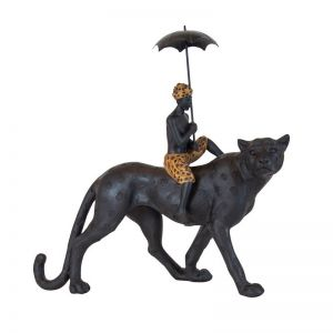 Rhodesia Leopard Boy on Leopard Sculpture