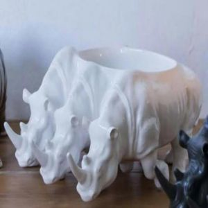 Rialheim Ceramic Triple Rhino Bowl | White