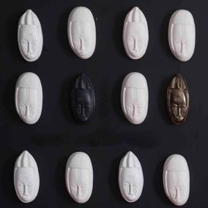 Rialheim Ceramics African Fertility Mask Set of 3 | Black & Bronze