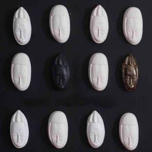 Rialheim Ceramics African Fertility Mask Set of 3 | White & Bronze