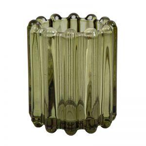 Ribbed Tea light holder | Leaf Green