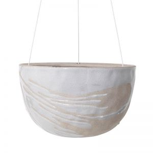 Riverstone Hanging Planter Small by Angus & Celeste | White Splash