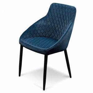 Rolf Dining Chair - Navy Blue Velvet and Black Legs