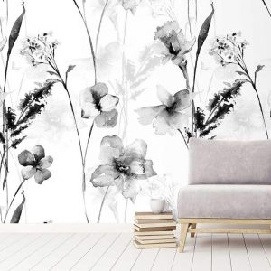 Romantic Watercolour Monochrome Wallpaper
