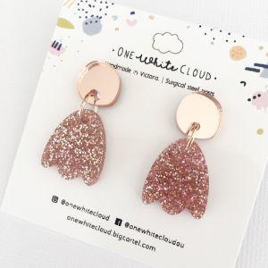 Rose Glitter Petal Earrings by One White Cloud