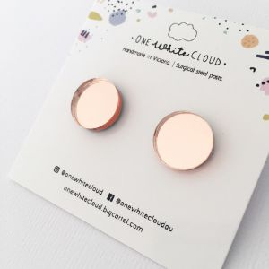 Rose Gold Mirror Earrings by One White Cloud