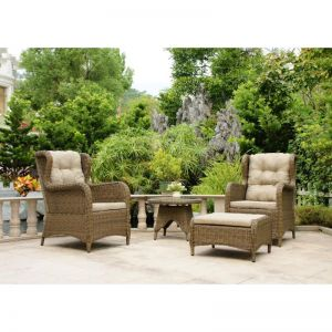 Rosebud 4 Piece Wicker Outdoor Balcony Setting | Natural Nut