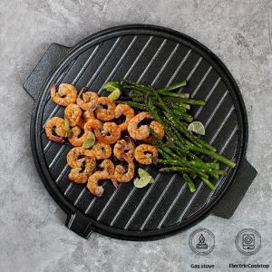 Round Cast Iron Korean BBQ Grill Plate with Handles and Drip Lip | 30cm