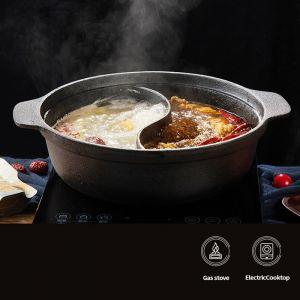 Round Cast Iron Shabu Shabu Hotpot | Two-Flavour Division | 32cm