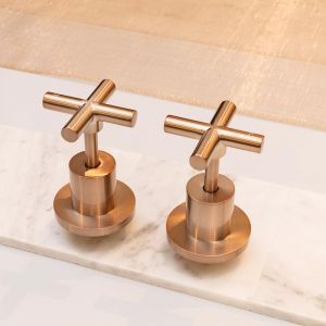 Round Champagne Jumper Valve Wall Top Assembly Taps