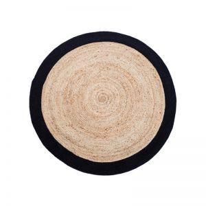 Round Jute Rug | Natural Fibre Decorative Floor | Black & Natural