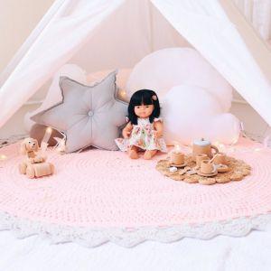 Round kids bedroom floor rug girls nursery -pink and grey