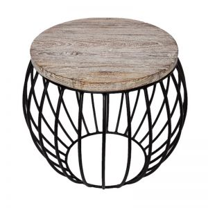 Round Side Table | Teak Matte Black