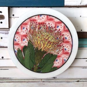 Roundy Woodblock | Pin Cushion Protea | Wall Hanging