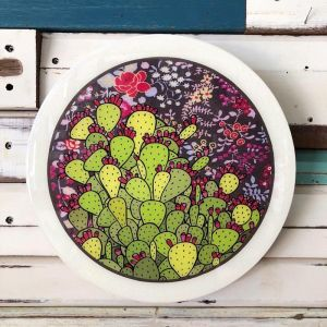 Roundy Woodblock | Prickly Pear | Wall Hanging