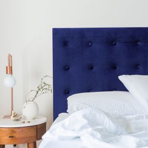 Royal Blue Velvet Buttoned Upholstered Bedhead | All Sizes | Custom Made by Martini Furniture