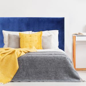 Royal Blue Velvet Smooth Upholstered Bedhead | All Sizes | Custom Made by Martini Furniture