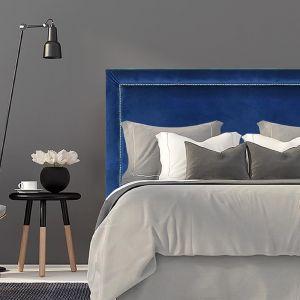 Royal Blue Velvet Studded Upholstered Bedhead | Custom Made | All Sizes