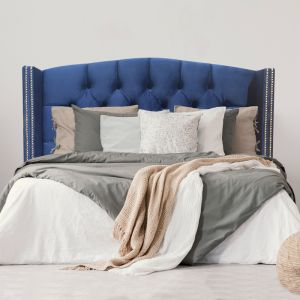 Royal Blue Velvet Tufted Upholstered Bedhead With Curve Top And Wings | All Sizes | Custom Made by M